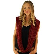Winter Chunky Crochet Bubble V Knit Long Ski Circle Loop Infinity Scarf Wine