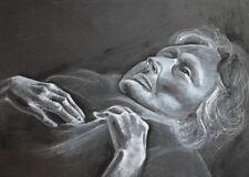 GOUACHE PAINTING OLD FEMALE PORTRAIT