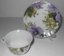 Porcelain Teacup & Saucer New Lavender Purple Flowered