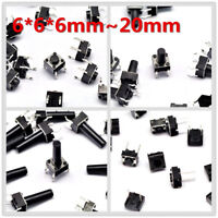 100pcs ON/OFF Micro Switch Touch Button DIP 4 Pin 6*6*6/5/7/8/10/12/15/20/4.3