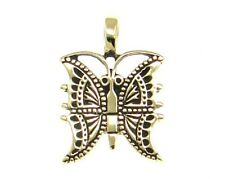 Solid Golden Bronze Butterfly Pagan Pendant Necklace