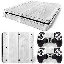 Sony PS4 Playstation 4 Slim Skin Aufkleber Schutzfolie Set - White Wood Motiv