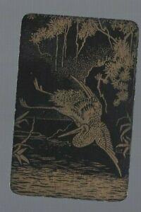 Swap Playing Cards 1 NARROW  VINT ORIENTAL LACQUER CRANE BIRD WATER TREE'S EW203