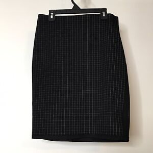 Max Studio Pencil Skirt Size S Elastic Waist Windowpane Plaid