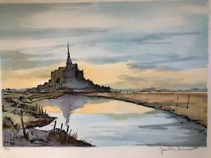 """Jean-Pierre Laurent – 1985 """"Le Mont Saint-Michel"""" Lithograph 94/250- Hand Signed"""