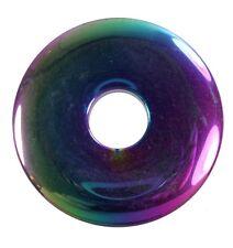 Regenbogen Hämatit Donut Anhänger Edelstein 40 mm Scheibenstein Pi Stein