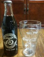 Coca-Cola 75th Anniversary Bottle w/ Matching Glass - Sealed Bottle