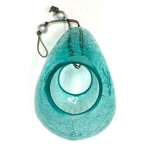 Gardener's Supply 8589069 Sparkling Moon Drop Bird Feeder in Crackle Glass, Blue
