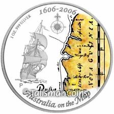 2006 Australia on Map 1606 Sailing Ship Duyfken Tall Ships $1 Pure Silver Proof