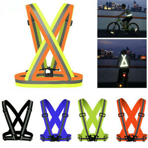 Safety Reflective Vest Night Running Cycling Adjustable High Visibility Belt
