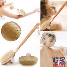 Brosse de bain à long manche arrière corps douche poils Spa Scrubber en bois