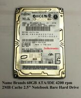 "Major Brands 60GB ATA/IDE 4200/5400 rpm 8MB Cache 12ms 2.5"" Int Laptop HDD"