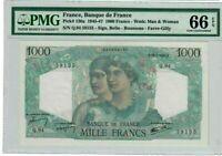 France 1000 Francs Banknote 1945 Pick# 130a PMG GEM UNC 66 - Vintage