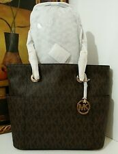 NWT MICHAEL KORS Jet Set East West MK Signature PVC Leather Tote Brown