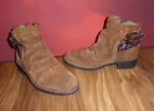 *4* SUPERB FLY LONDON BROWN TAN  LEATHER  SUEDE ANKLE BOOTS  UK 4 EU 37