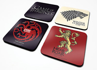 Official Game Of Thrones Set Of 4 Coaster Mat Logo House Sigil TV Novelty Gift
