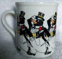 The Chorus Line Penguin Coffee Mug Papel Japan Vintage Black and White