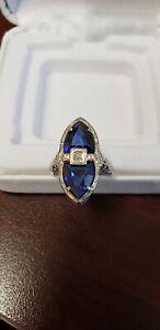 Belais 14k white gold sapphire and diamond engagement ring. Art deco, vintage