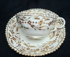ANTIQUE 19th CENTURY CHINA CUP & SAUCER HEAVY GOLD DECORATION SERRATED EDGE #992