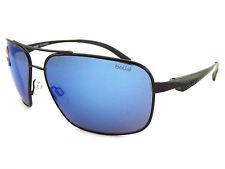 BOLLE Polarised Brisbane Aviator Sunglasses Matte Black / Blue Mirror 11919