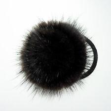 Brown Round Real mink fur fluffy pom pom hair scrunchie ponytail holder