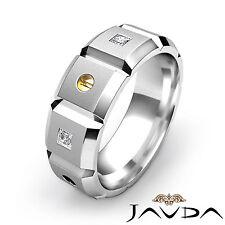 8mm Mens Wedding Band 18k White Gold Princess Diamond Eternity Solid Ring 0.35Ct