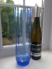 Large vintage Czech Sklo union blue fluted art glass vase.