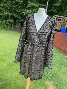 Ladies Size 20,  Two Tone Wrap Sequin Dress From The Plus Range From BOOHOO