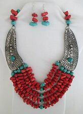 Red Natural Stones & Blue Coral Beads 5 Strands Bib Statement Necklace Set.  NWT