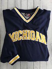 Michigan Wolverines Team Athletics Lined V Neck Windbreaker Side Zipper Large
