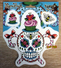 SUGAR SKULL CANDY CANES CUP CAKE DECAL STICKER cute fun girly tattoo flash art