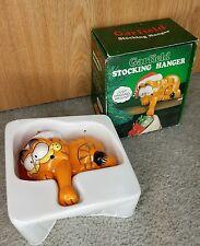 Garfield Cat Christmas Stocking Hanger Vintage 1978 Enesco Imports