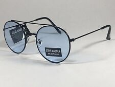 dc980df9b121f Steve Madden Round Sunglasses Black Metal Frame Light Blue Lens Sm485102