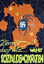 La guerra propaganda tedesca Bayern ANTI NAZISTA SPIDER POSTER STAMPA