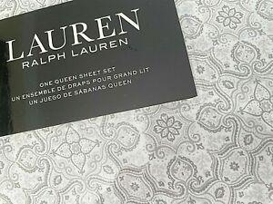 NIP LAUREN RALPH LAUREN Cotton White Gray Queen QUEEN Sheet Set Extra Deep