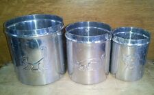 Set of 3 Silver Tin Metal Cat Kitten Canisters from Ikea