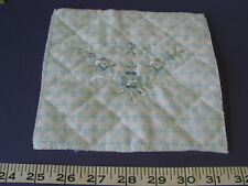 4166 Embroidered Blue Green White Fleece Squares 128 Pcs Unique for Quilts.Sale