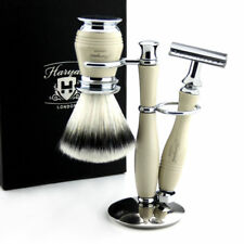 Classic Shaving Double Edge Safety Razor, Synthetic Brush + Steel Stand Holder