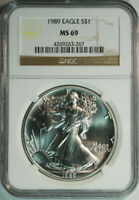 1989 American Eagle .999 Pure Silver Dollar / NGC MS69