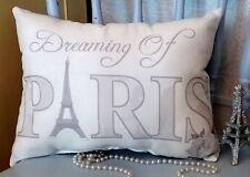 Gray Dreaming Of Paris Eiffel Tower Pillow, French Pillow, Parisian Home Decor