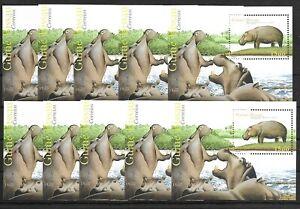 SMT, GUINEA BISSAU, 2001, HIPPOPOTAMUS, souvenir sheet X 10, MNH
