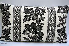 """Ralph Lauren ~ 'Gwinnet Toile' Black & White Fabric Cushion Cover ~ 12"""" x 20"""""""
