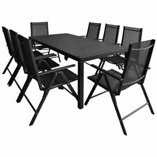 vidaXL Outdoor Dining Set Table and Folding Chairs 9 Piece WPC Garden Patio