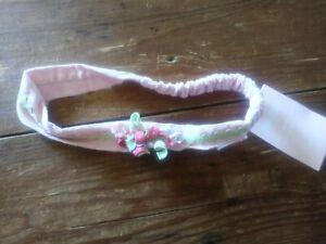 NWT Gymboree old line pink baby nursery headband with polka dot curlies girls