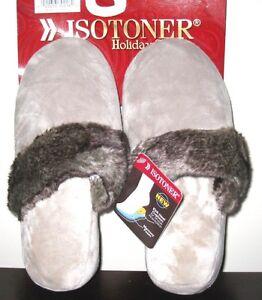 totes ISOTONER Stone Beige Plush Velour Wedge Clog Slippers w/Fur Trim