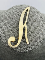 VINTAGE Gold Tone LETTER R Pin Brooch Cursive Swirl Initial Monogram