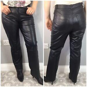 Vintage Fashion Concept Black Real Straight Leg Jean Style Trousers UK 14 Biker