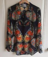 Cabi Womens Sheer Navy Floral Button Front Amour Blouse Top Shirt Size Small