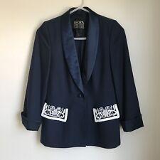 Escada Couture Blazer Navy Blue Silk Blend Embellished Pockets Womens 38 GUC