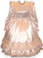 """Kimberlina"" CUSTOM FIT White Satin Ruffle Gown Adult LG Baby Sissy Dress LEANNE"